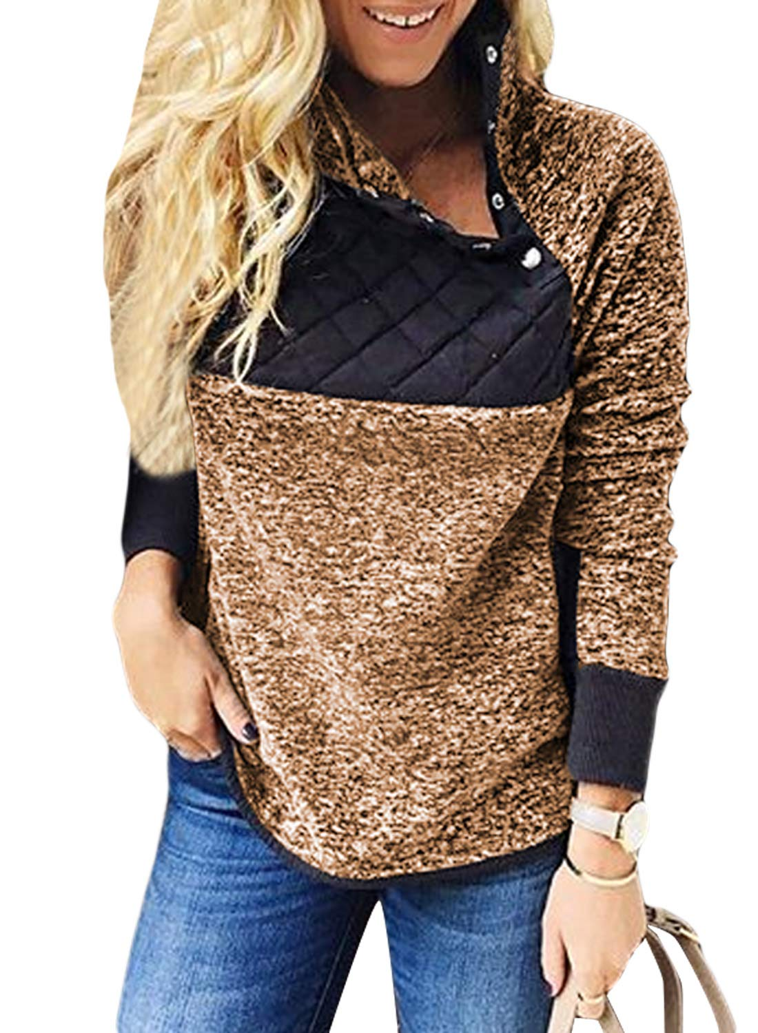 FIYOTE Womens Long Sleeve Asymmetrical Snap Neck Fleece Pullover Tops Sweatshirts Outwear