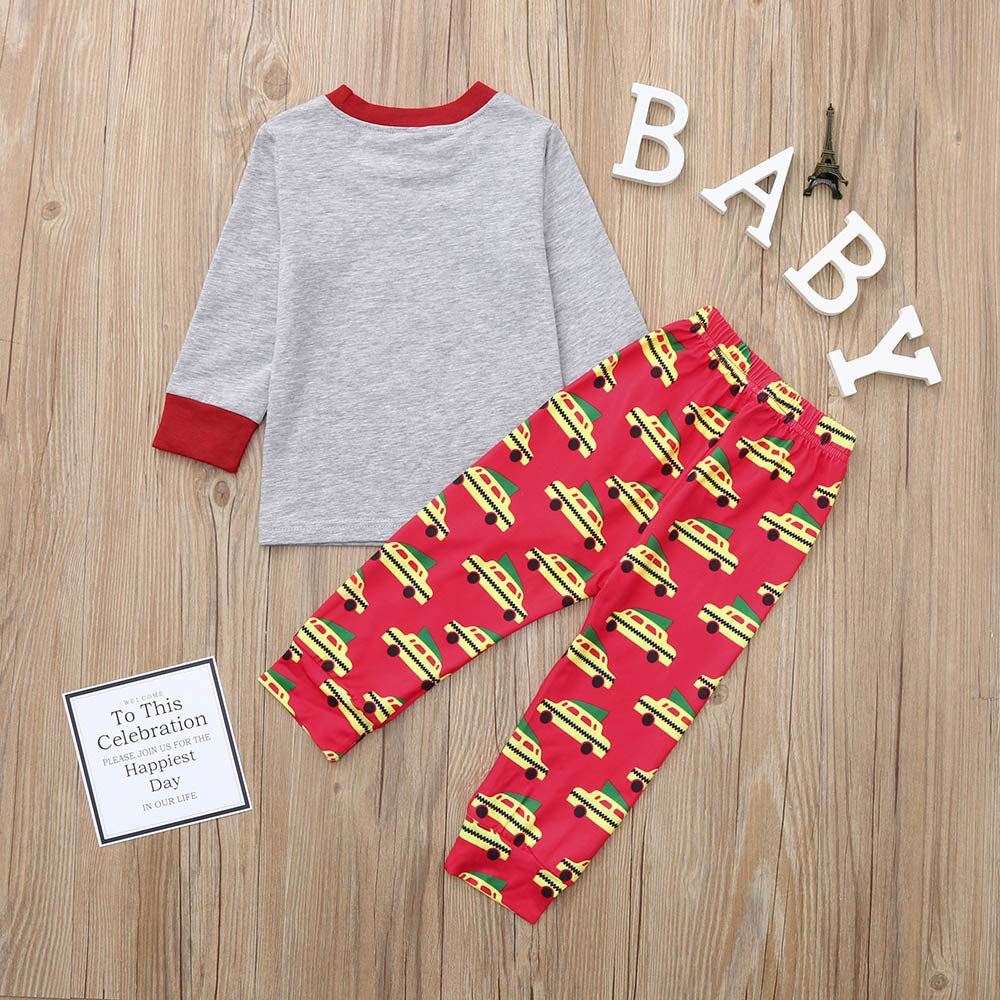 Chenway ღ ღChristmas Cotton Toddler Kids Baby Boy Long Sleeve Deer T Shirt Tops+Pants 2PCS Outfit Clothes Set