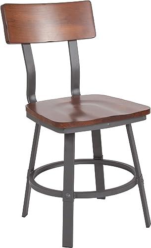 Flash Furniture Flint Series Rustic Walnut Restaurant Chair
