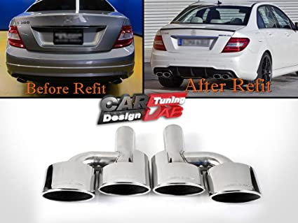 AMG DUAL Oval Exhaust Pipe Tips Finisher Fits MERCEDES BENZ