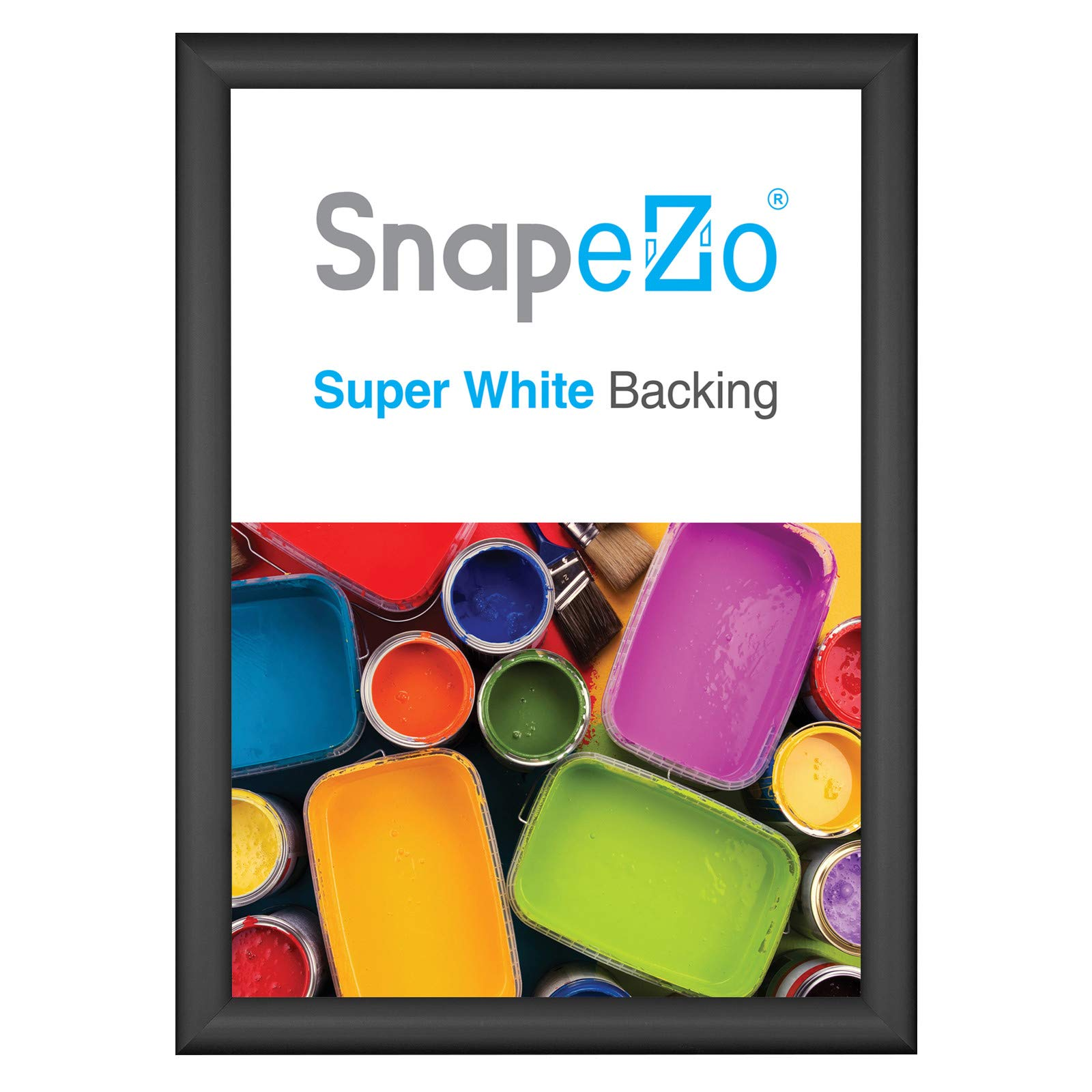 SnapeZo Poster Frame A2 Size (16.5 x 23.4 inches), Black 1 Inch Aluminum Profile, Front-Loading Snap Frame, Wall Mounting, Sleek Series