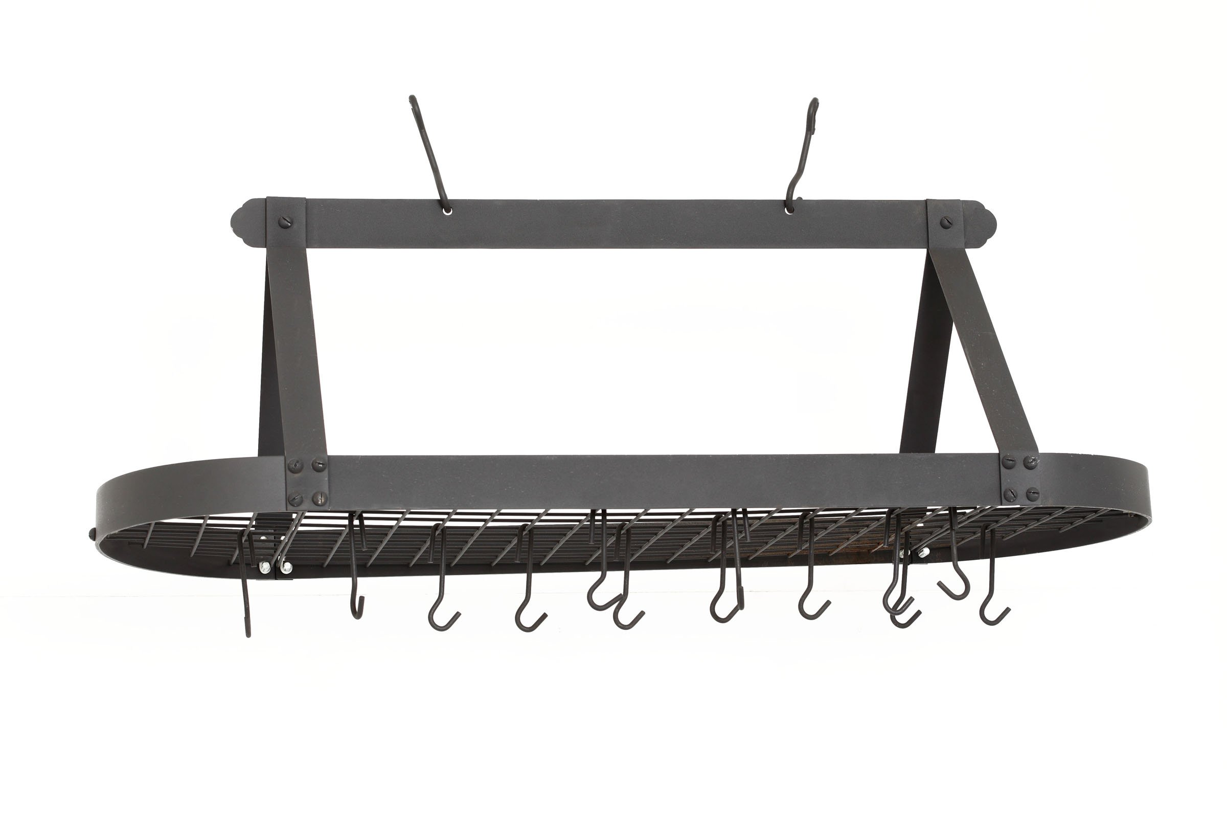 Old Dutch Oval Hanging Pot Rack with Grid & 24 Hooks, Graphite, 48 x 19 x 15.5 by Old Dutch