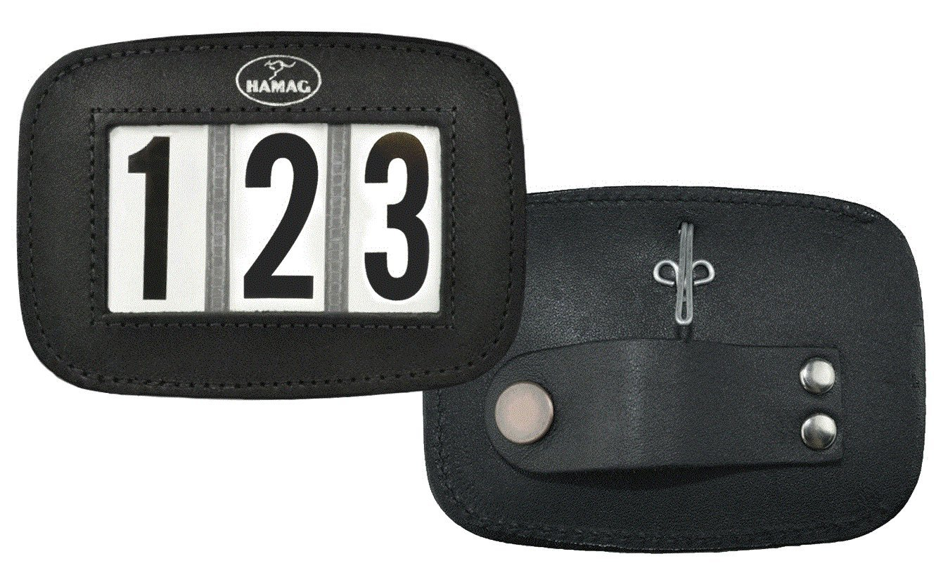 Black 3 Digit Black 3 Digit Hamag Leather Bridle Number Holders (Pair) (Black, 3 Digit)