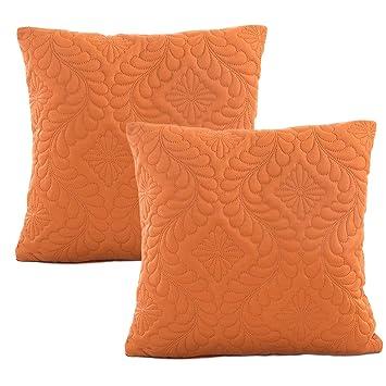 JOTOM Funda de Almohada de Cintura Acolchada Hojas Fundas de Cojines para sofá de casa Decorativo 43 x 43cm,Juego de 2 (Naranja): Amazon.es: Hogar