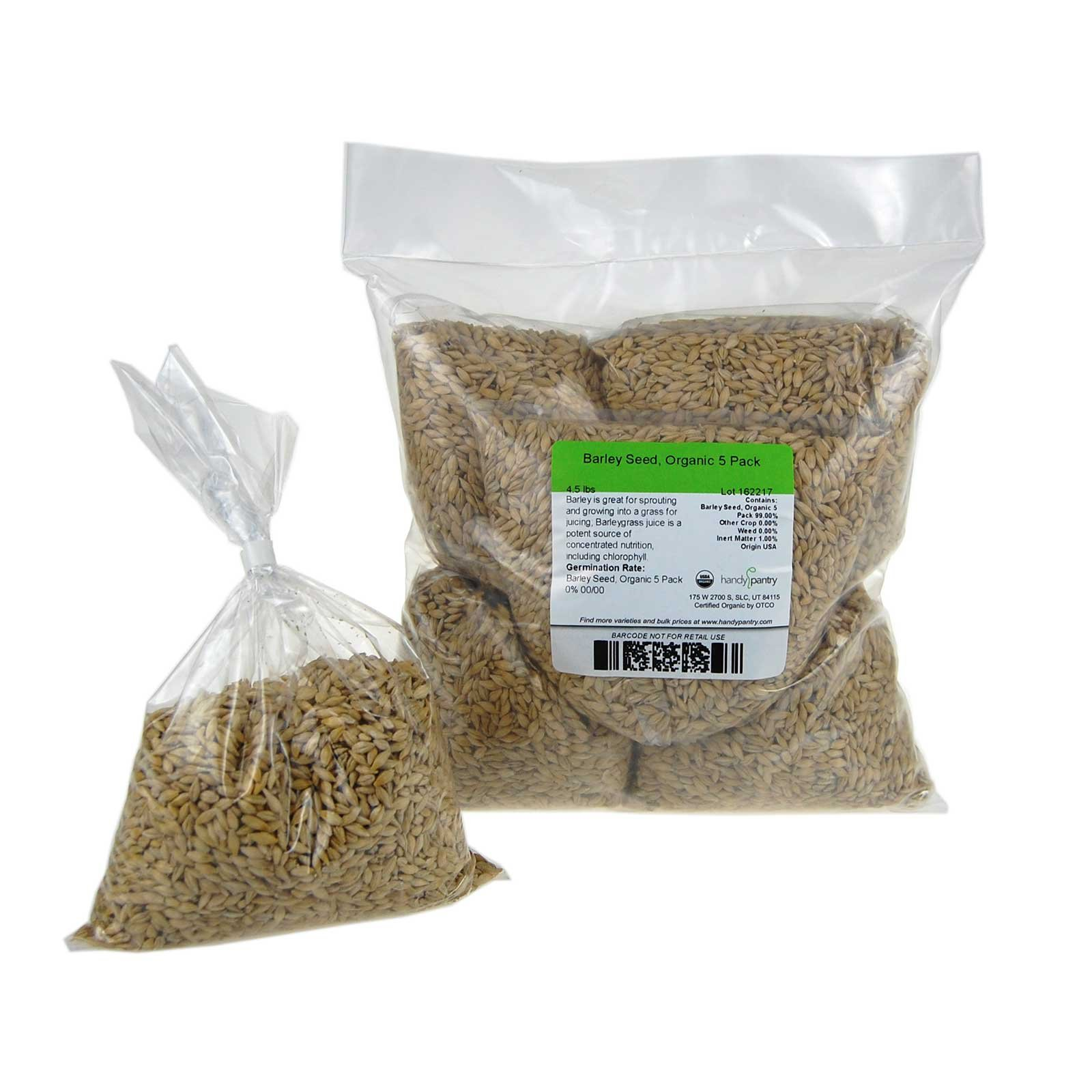 Organic Barley Seeds - 4.5 Lbs in Pre-Measured Bags for 10x20 Trays - Whole (Hull Intact) Barleygrass Seed - Ornamental Barley Grass, Juicing