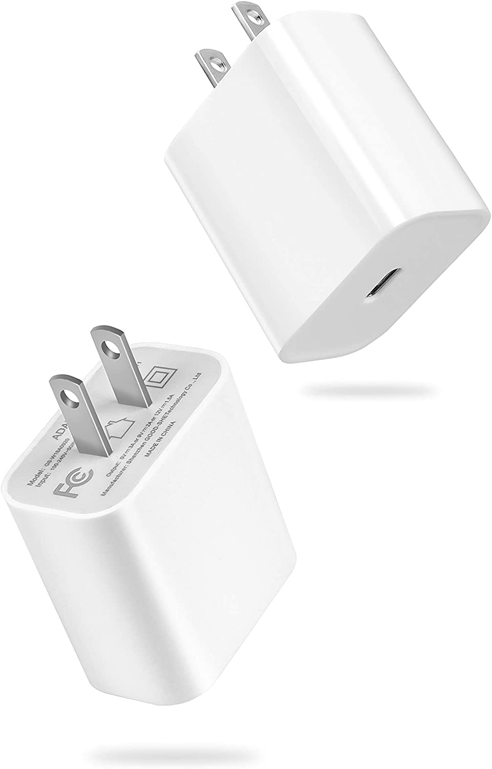 20W USB-C Power Adapter Compatible with iPhone 12/12 Pro/12 Pro Max/12 Mini/11, Fast USB Type C PD Charger for AirPods Pro, iPad Pro, Pixel 4/3 Charger Block-2 Pack