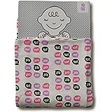 めんぷます田 赤ちゃんのガーゼケット ありがとう! (ピンク) 85×110cm 綿100% 日本製
