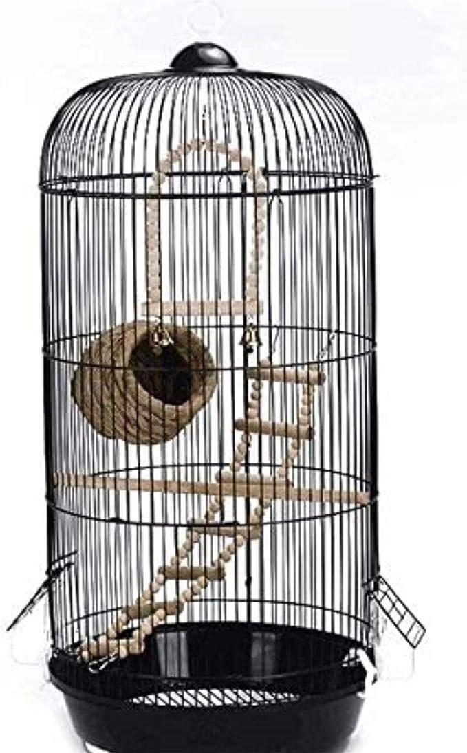 Jaula dpájaros duradera y ecológica, Travel Carrier para pájaros Pájaros Classic Lujo Cúpula Redonda Aves Caged Parakeet Pájaro salvaje Gorrión Pájaro Canarias Pájaro Jaula Altura 74cm (Negro) Product