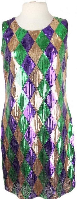 parades Mardi Gras Cosume Medium Dress Harlequin Sequin Diamond Pattern Dress Sequins NOLA New Orleans Anywhere Parties Festival Purple