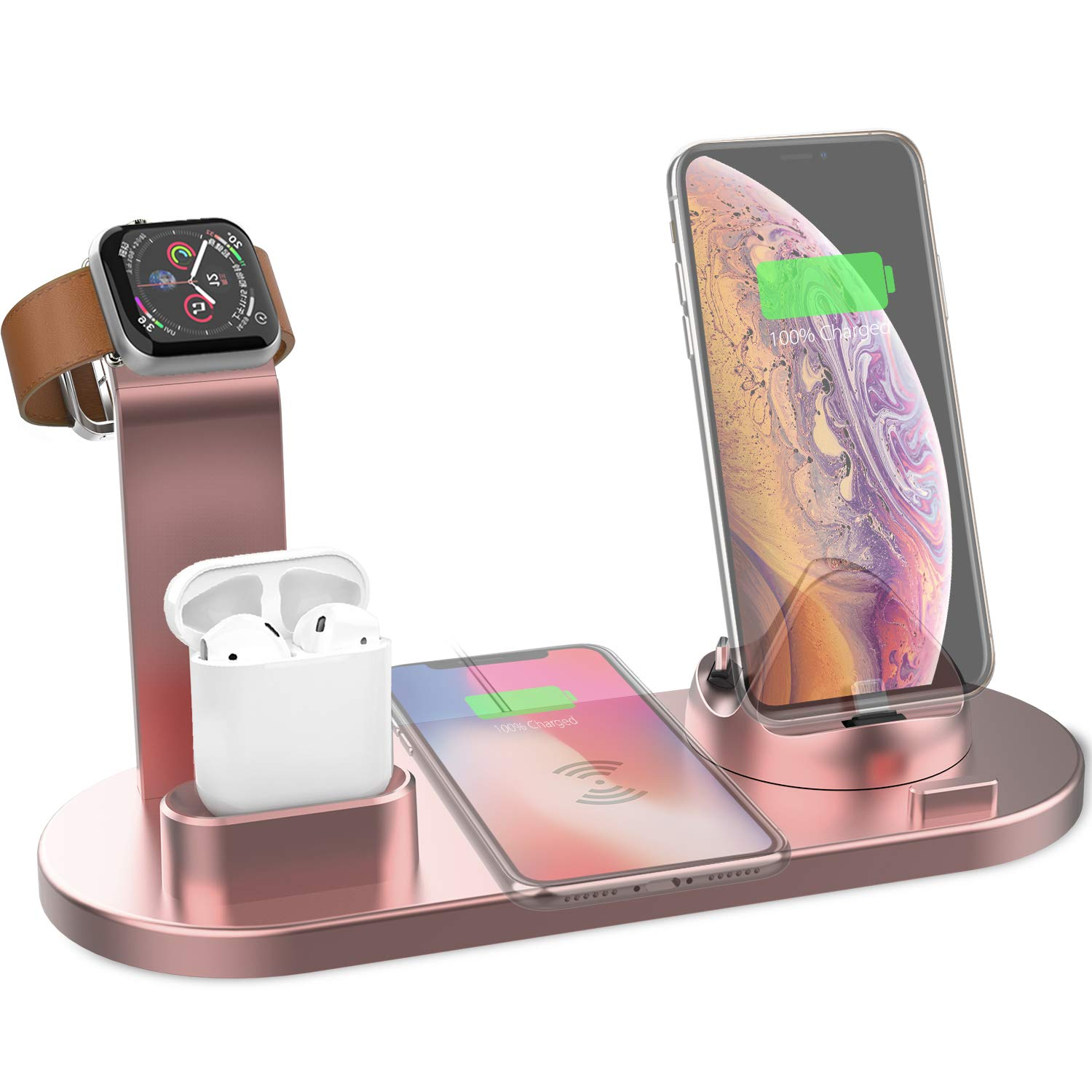 Yestan Wireless Charger 4 in 1 Wireless Charging Dock Compatible with Apple Watch and Airpods Charging Station Qi Fast Wireless Charging Stand Compatible iPhone X XS XR Xs Max 8 8 Plus Rose Gold by Yestan