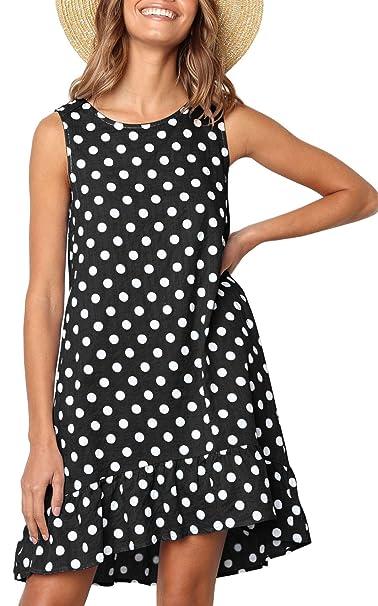 e62acd142f3d BOCOTUBE Women's Summer Sleeveless Polka Dot Ruffle Hem Swing Dress with  Pockets Black