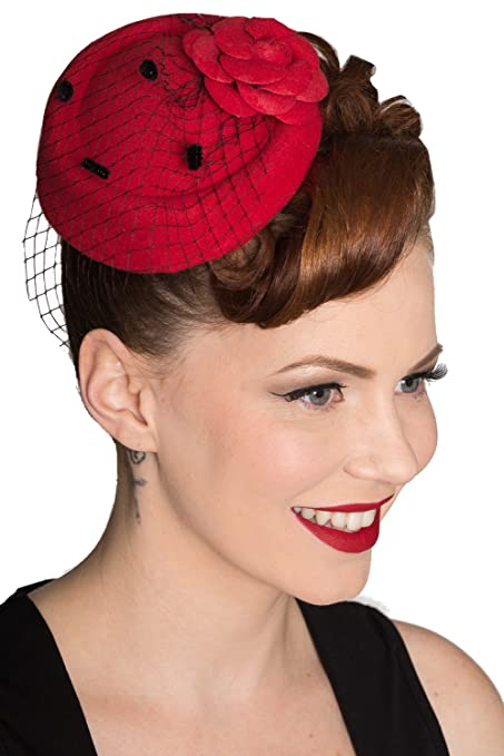 1950s Women's Hat Styles & History Banned Marilyn Vintage Fascinater - Black Pink or Red $16.95 AT vintagedancer.com