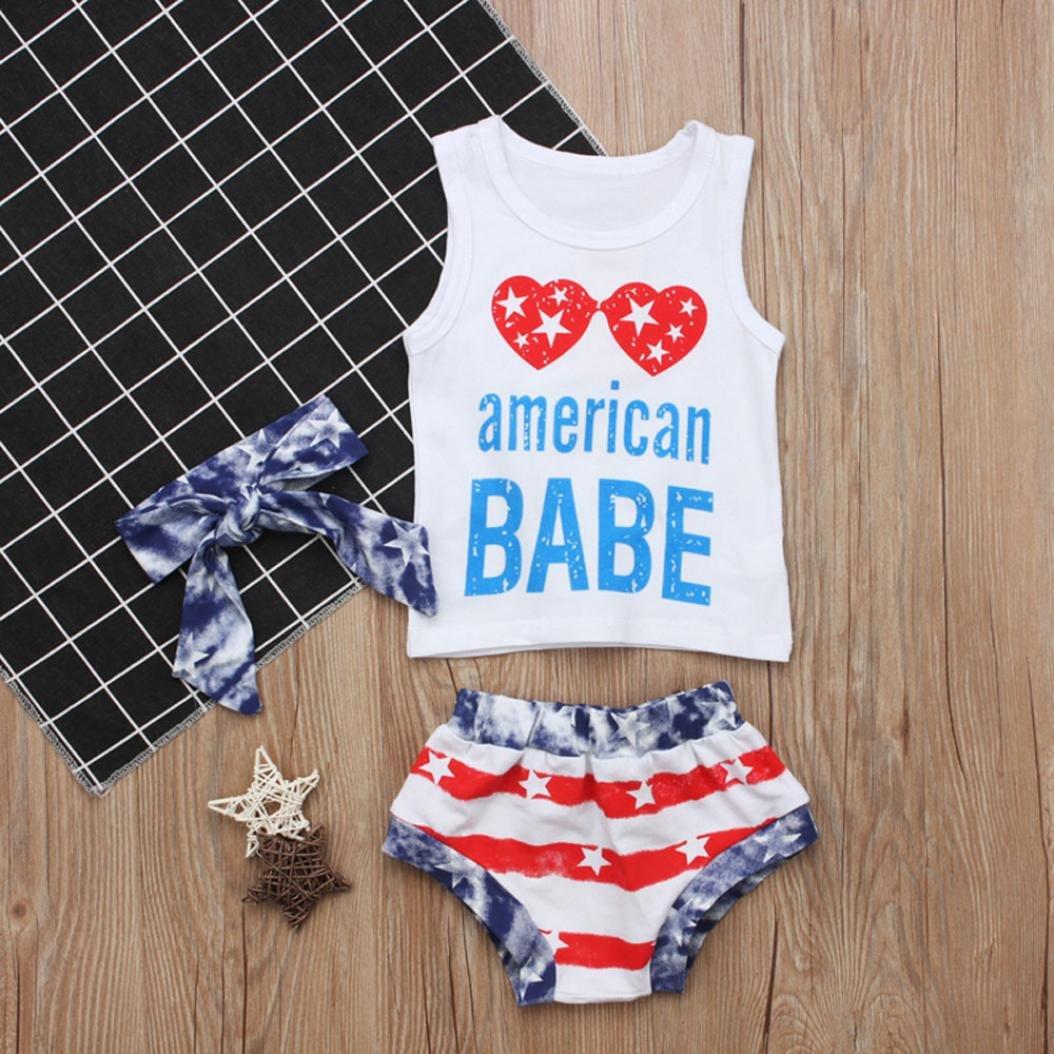 Memela Baby Toddler Baby Girls Letter Stars Striped Tops Vest Shorts 4th of July Outfits Set