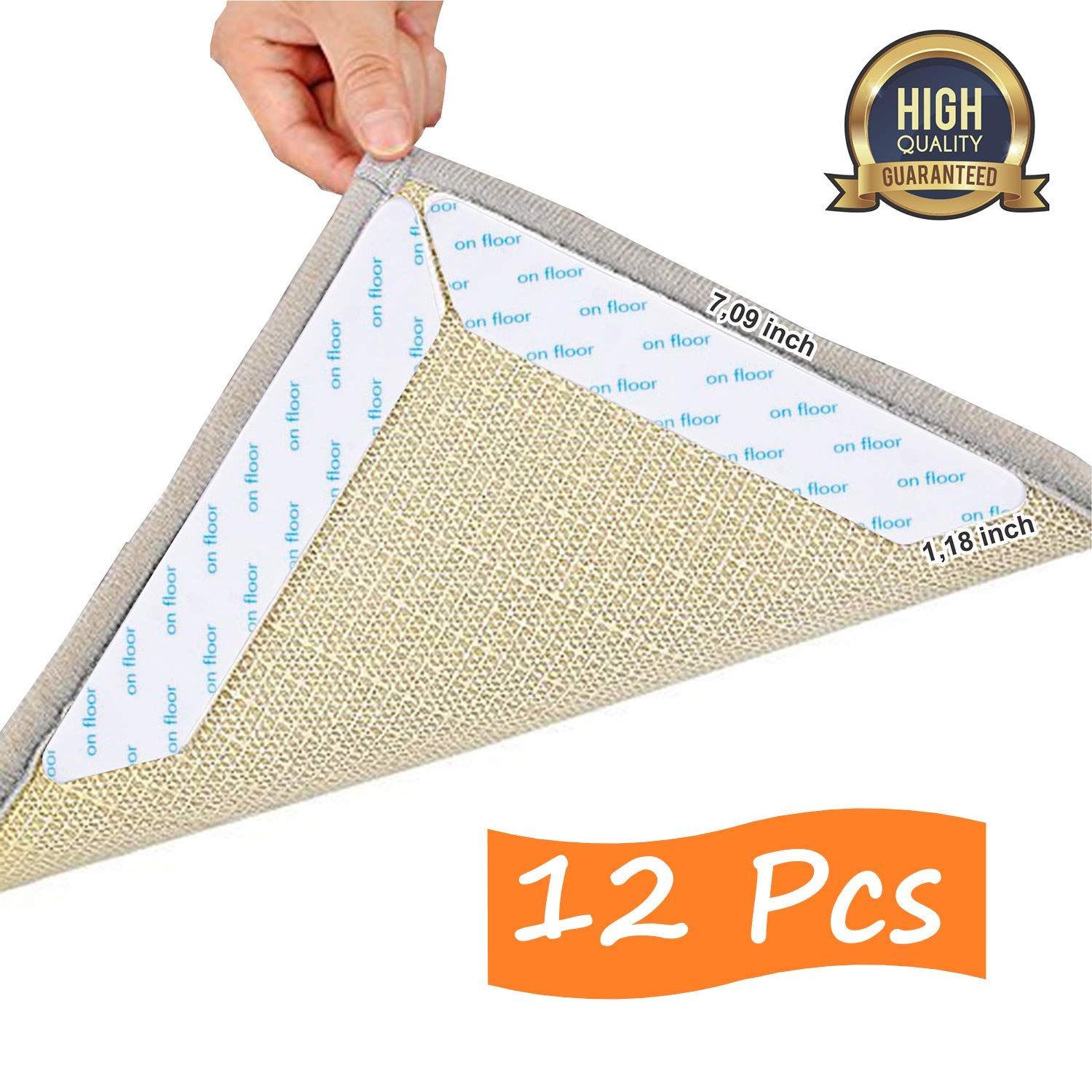 TO-PRIZES Non Slip Rug Gripper Anti Slip Renewable Tape Pad for Hardwood Floors, Carpets. Anti Curling Gripper Area Rugs and Mats. Anti Skid Grip Keeps Carpet and Mat Corners Flat to The Floor 12 Pcs