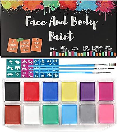 Face Paint Kit Professional Body Party Paint Halloween Washable 12 Color Palette