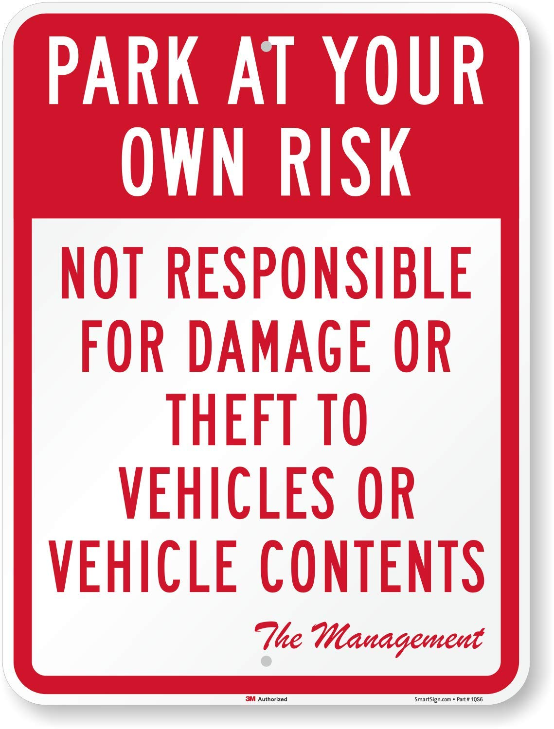 Vehicle Owners Own Risk Not Responsible For Parking Aluminum METAL Sign