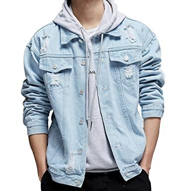 Kama Bridal Men's Distressed Ripped Denim Jacket Button Down Jean Trucker Coat by Kama Bridal