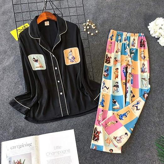Nuevo Conjunto de Pijama Estampado Damas Coreano Dulce y ...