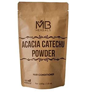 MB Herbals Acacia catechu Powder   Kattha Katha Powder   Hair Conditioner   To Be Mixed & Applied with Henna   For Men and Women   EXTERNAL USE ONLY   To be used as a hair conditioner