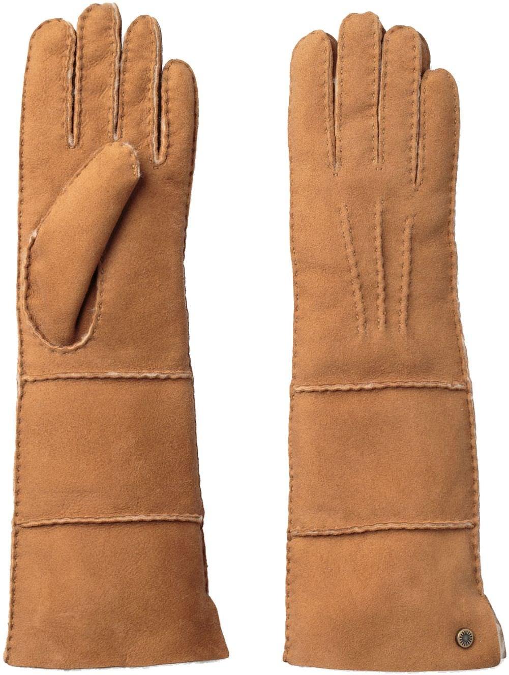 UGG Women's Long Pieced Sheepskin Gloves with Slim Pile Chestnut SM