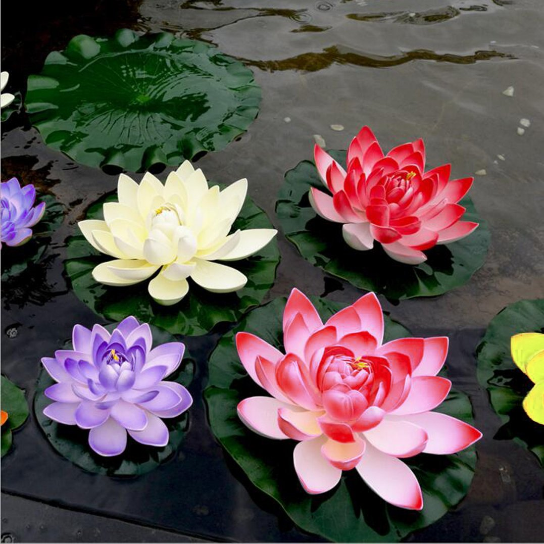 4 Pieces Floating Flower-Herxuhouse Floating Pond Decor Water Flower Foam Artificial Lotus for Home & Party Decoration & Holiday Celebration (Blue)