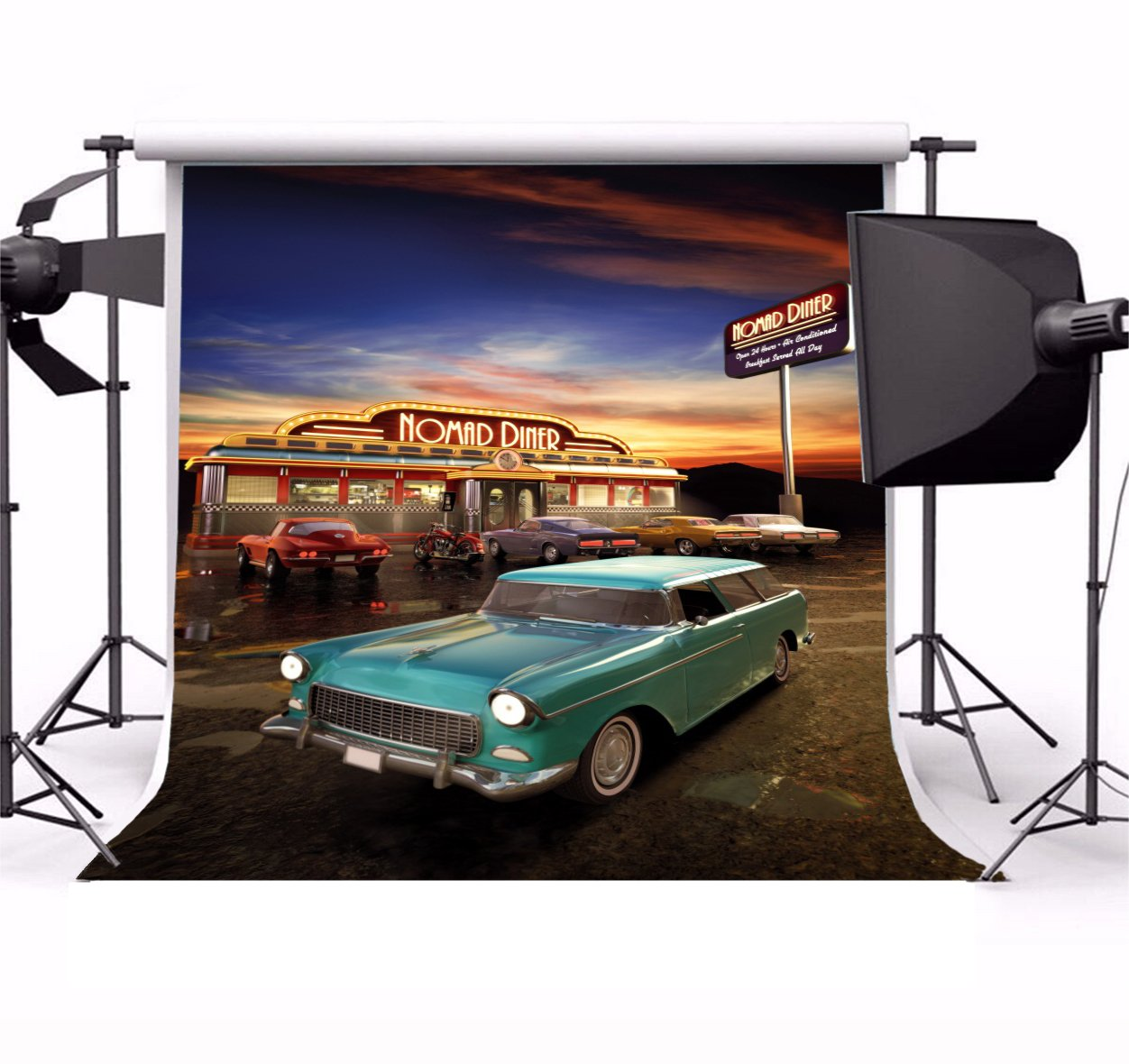 Yeele 10x10ft Retro Nostalgia 50S 60S Backdrop Vintage Eatery Dinner Motorcycle Car Party Banner Photography Background Girl Boy Adult Portrait Photo Booth Shooting Photocall Studio Props by Yeele