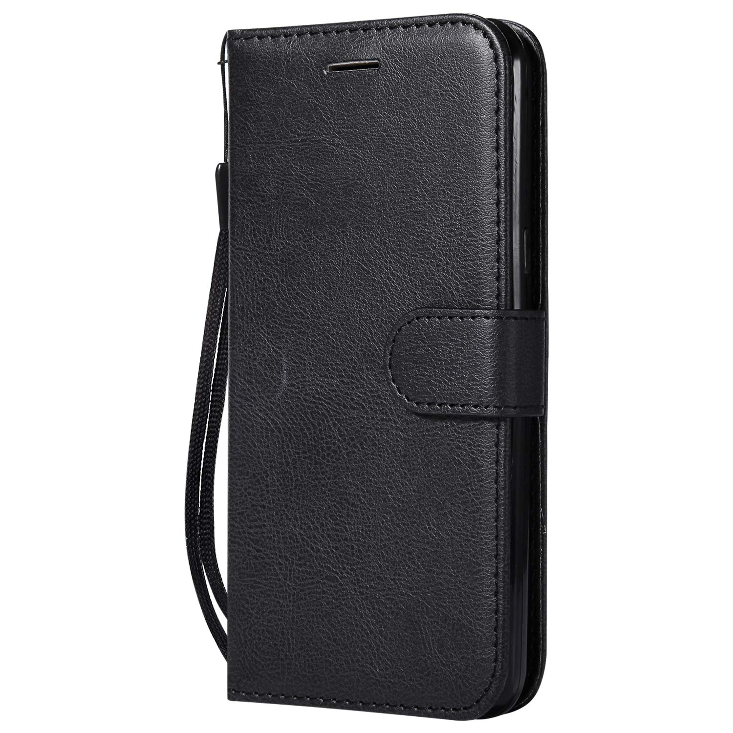 LG X Power Case, AIIYG DS Classic Pure Color [Kickstand Feature] Flip Folio Leather Wallet Case with ID and Credit Card Pockets for LG X Power Black
