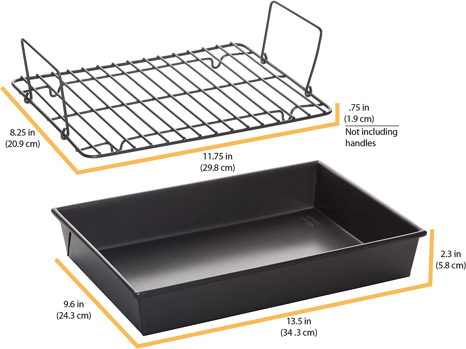 Chicago Metallic Professional Roast Pan with Non-Stick Rack, 13-Inch-by-9, Gray: Kitchen & Dining
