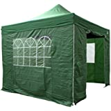 AllSeasonsGazebos Choice Of 5 Colours and 2 Sizes, Heavy Duty, Fully Waterproof, Premium Pop Up Gazebo With 4 x Zip Up Side Panels and carry bag (Green, 3m x 3m)