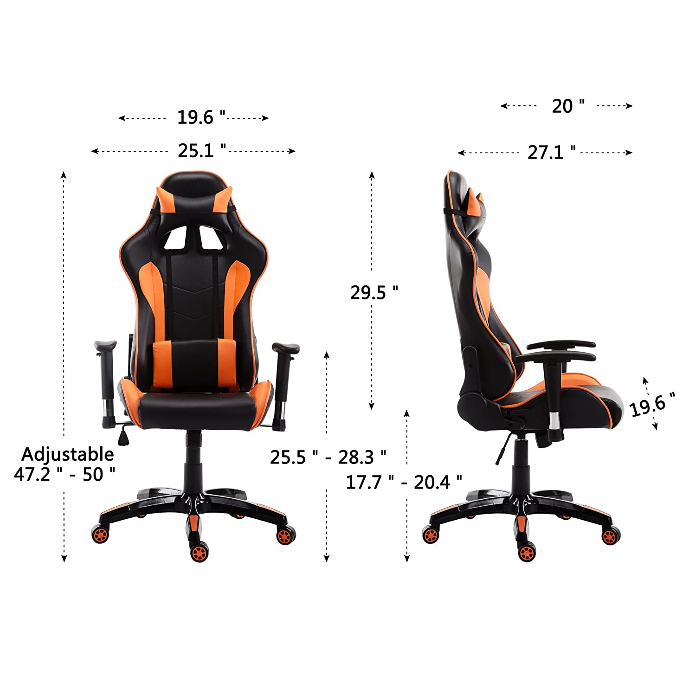 acepro Gaming ejecutivo silla giratoria ergonómico estilo Racing de alta Back Office Task silla de ordenador de escritorio con reposacabezas y apoyo lumbar ...
