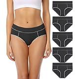 wirarpa Women's Cotton Stretch Underwear Mid Rise Briefs Soft Panties 5 Pack (Regular & Plus Size)