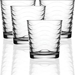 Circleware 40131 Pulse Set of 4-12.5 oz Heavy Base Drinking Whiskey Glass Glassware Cups for Vodka, Brandy, Scotch, Bourbon & Best Selling Liquor Beverage, 4pc DOF, Clear