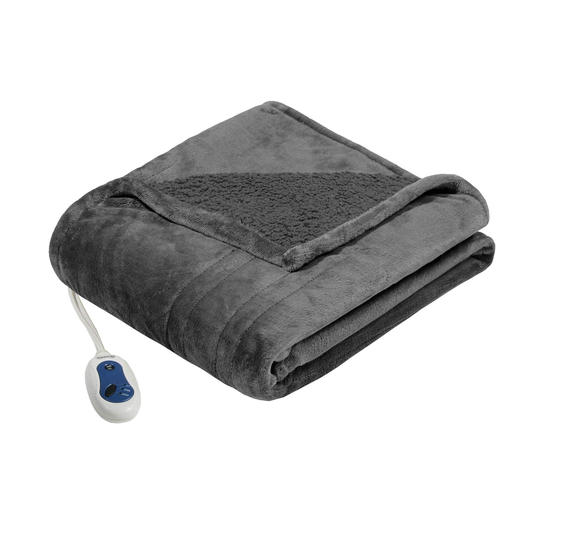 Beautyrest - Plush Heated Throw Blanket -Secure Comfort Technology-Oversized 60'' x 70''- Gray - Cozy Soft Microlight to Berber - Heated Electric Blanket Throw - 3-Setting Heat Controller-5 Yr Warranty