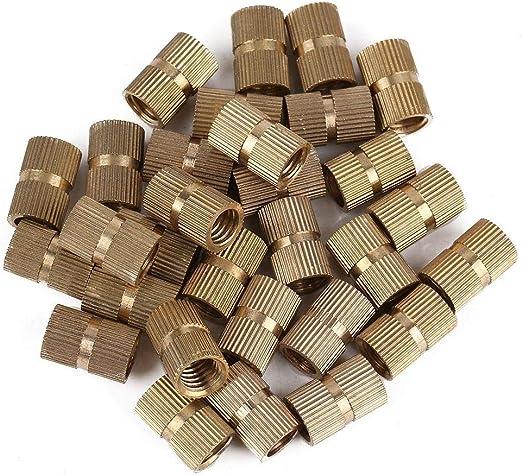 Dado zigrinato Cilindro in ottone da 120 pezzi con inserto rotondo filettato in ottone M8
