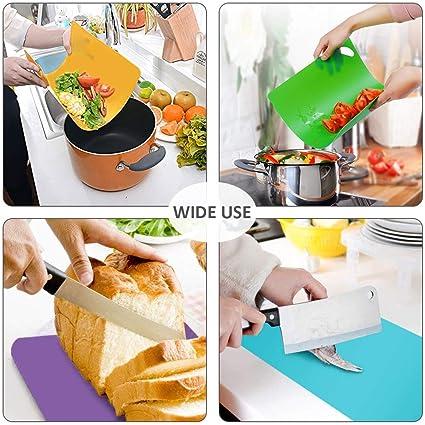 kashyk Planches /à D/écouper,Planches Plastique Set Flexible Cuisine Antid/érapant pour Moi /à Poisson des L/égumes Outil de Cuisine en Acier Inoxydable pour /éplucheur de Fruits