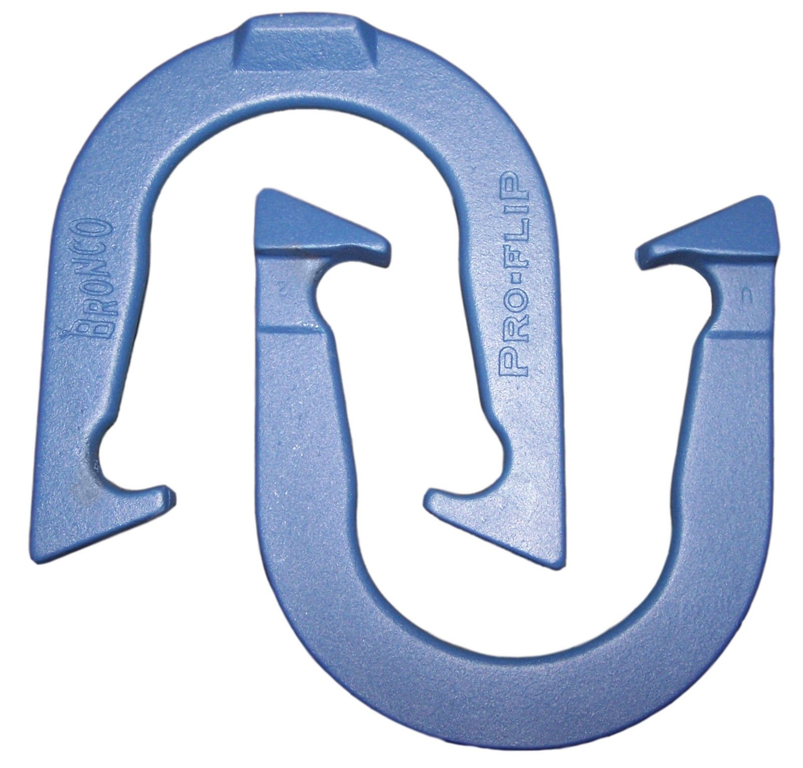 Bronco Pro-Flip Professional Pitching Horseshoes- made in USA! (Blue- Single Pair (2 shoes))