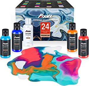 Acrylic Pouring Paint, 2oz Bottles, Set of 24 Assorted Colors and Silicone Oil, Pre-Mixed, High Flow, Paint for Pouring on Canvas, Glass, Paper, Wood, Tile, Stones and More