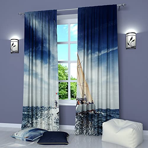 Factory4me Landscape Curtains Water Under a sail. Window Curtain Set of 2 Panels Each W52 x L96 Total W104 x L96 inches Drapes for Living Room Bedroom Kitchen