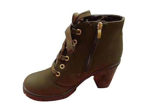 Gaorui Mujer Zapatos Cuña Tacón Grueso Plataforma Botines Cordones Encaje Hebilla Verde 36,5: Amazon.es: Zapatos y complementos