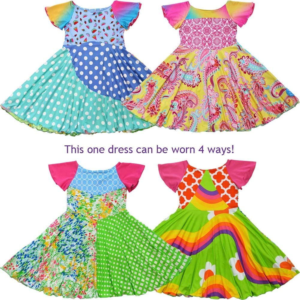 TwirlyGirl Girls Unique 4 Way Reversible Dress Colorful Soft Pretty USA Made