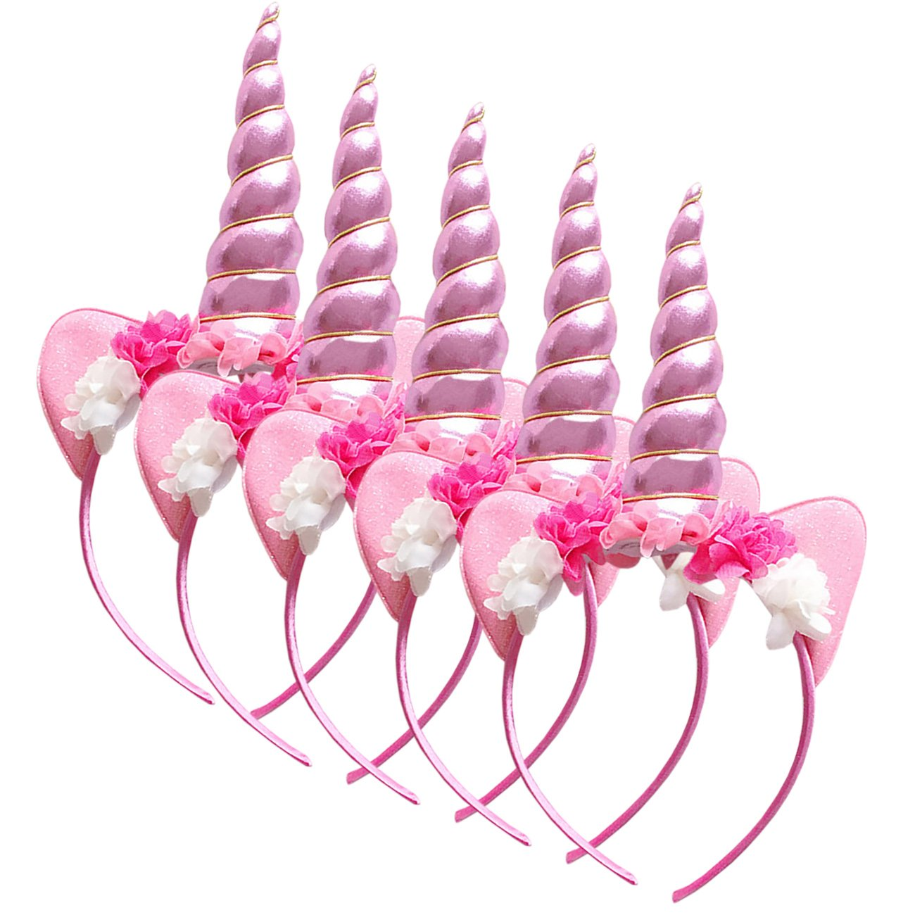 THEE Kid Girls Unicorn Horn Head Party Hair Headband Fancy Dress Cosplay Decorative 5pcs