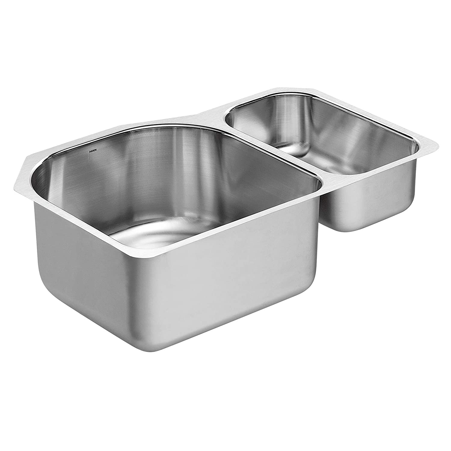 Moen G18273 1800 Series 18 Gauge Double Bowl Undermount Sink, Stainless Steel
