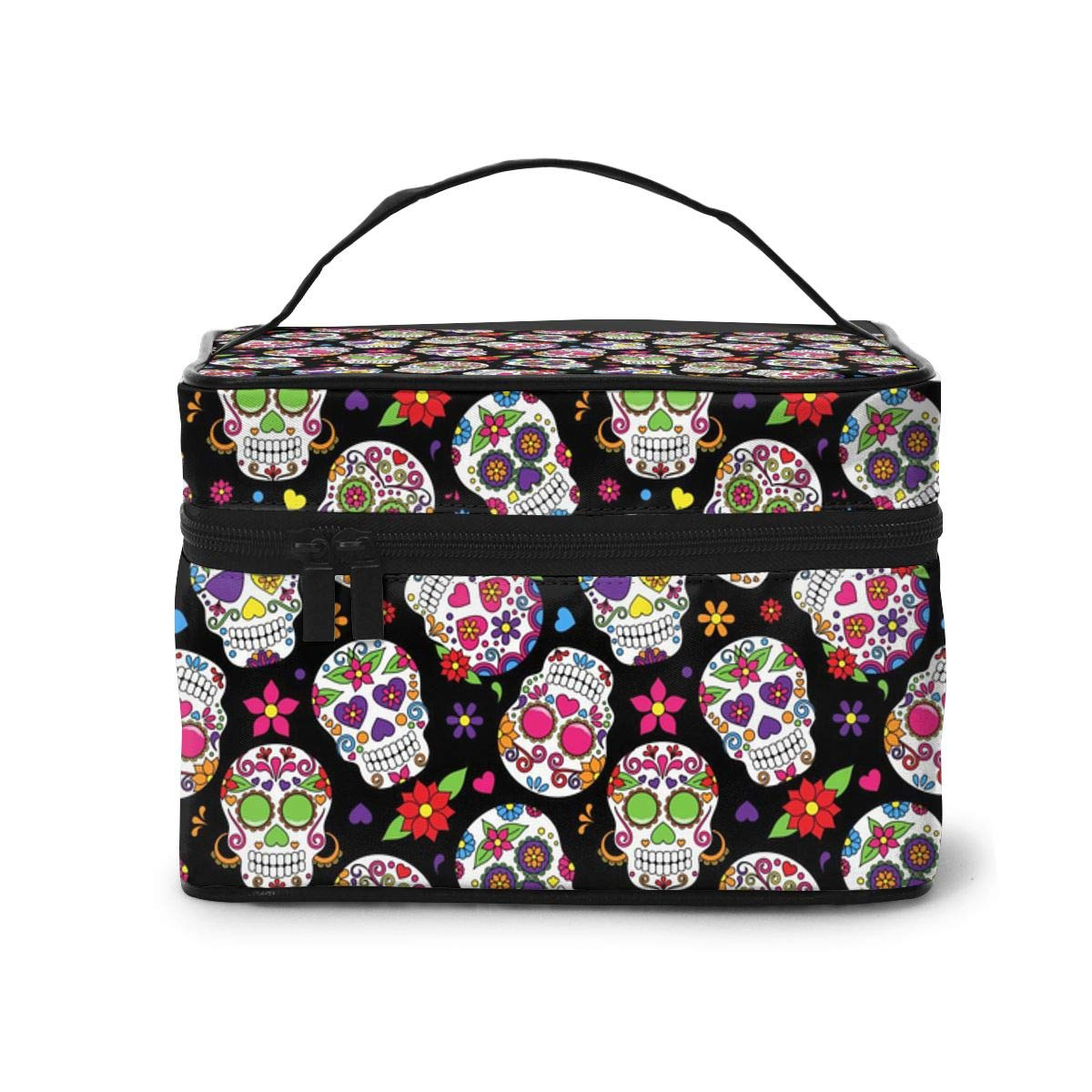 AHOOCUSTOM Sugar Skull Large Makeup Bag Travel Multifunction Cosmetic Case Toiletry Organizer Portable Train Case for Women and Girls