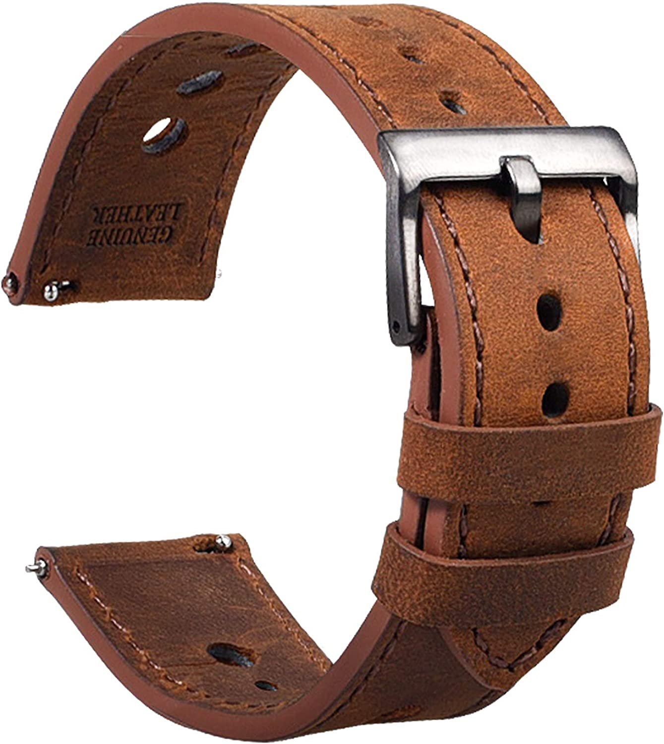 Cauwsai Leather Watch Band - Quick Release Double-Sided Leather Watch Strap - 18mm, 20mm, 22mm, 24mm - 8 Color