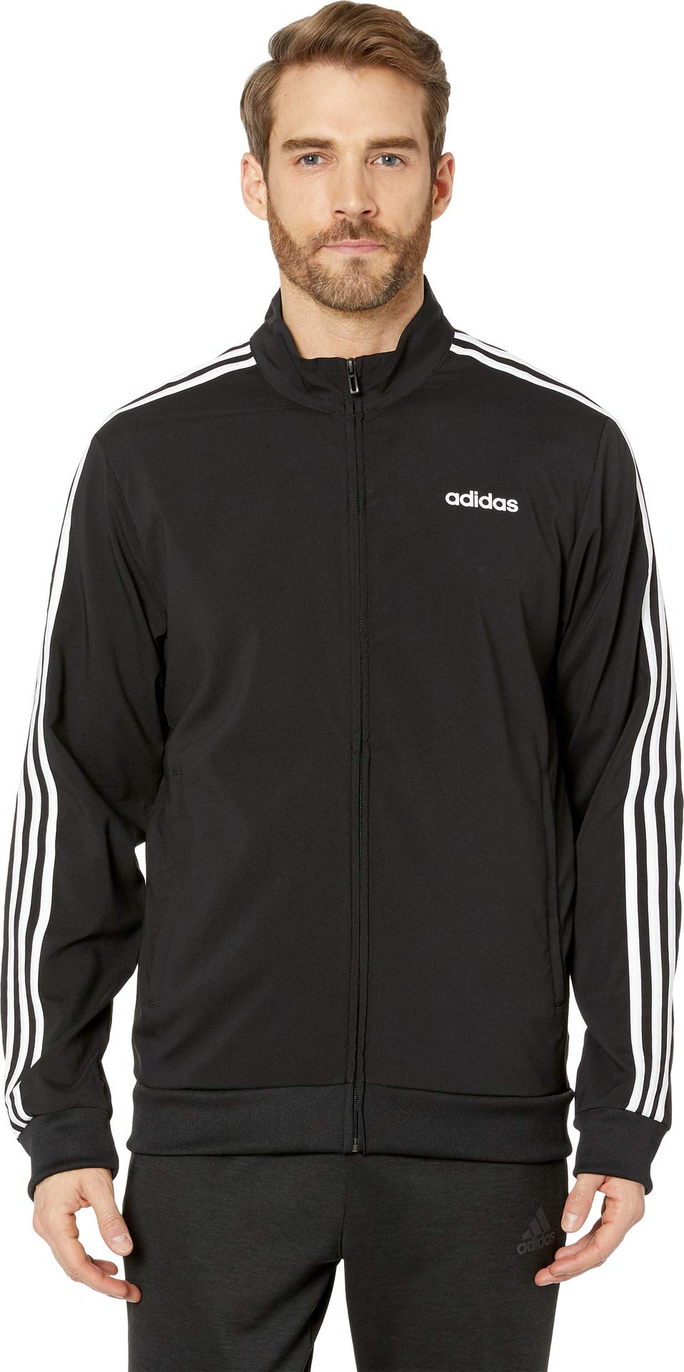 adidas Essentials Men's 3-Stripes Track Jacket, Black/White, Large by adidas