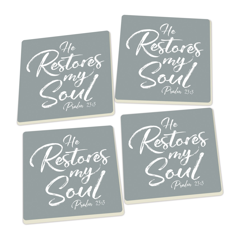 He Restores My Soul Grey Set of 4 Ceramic Coaster Pack