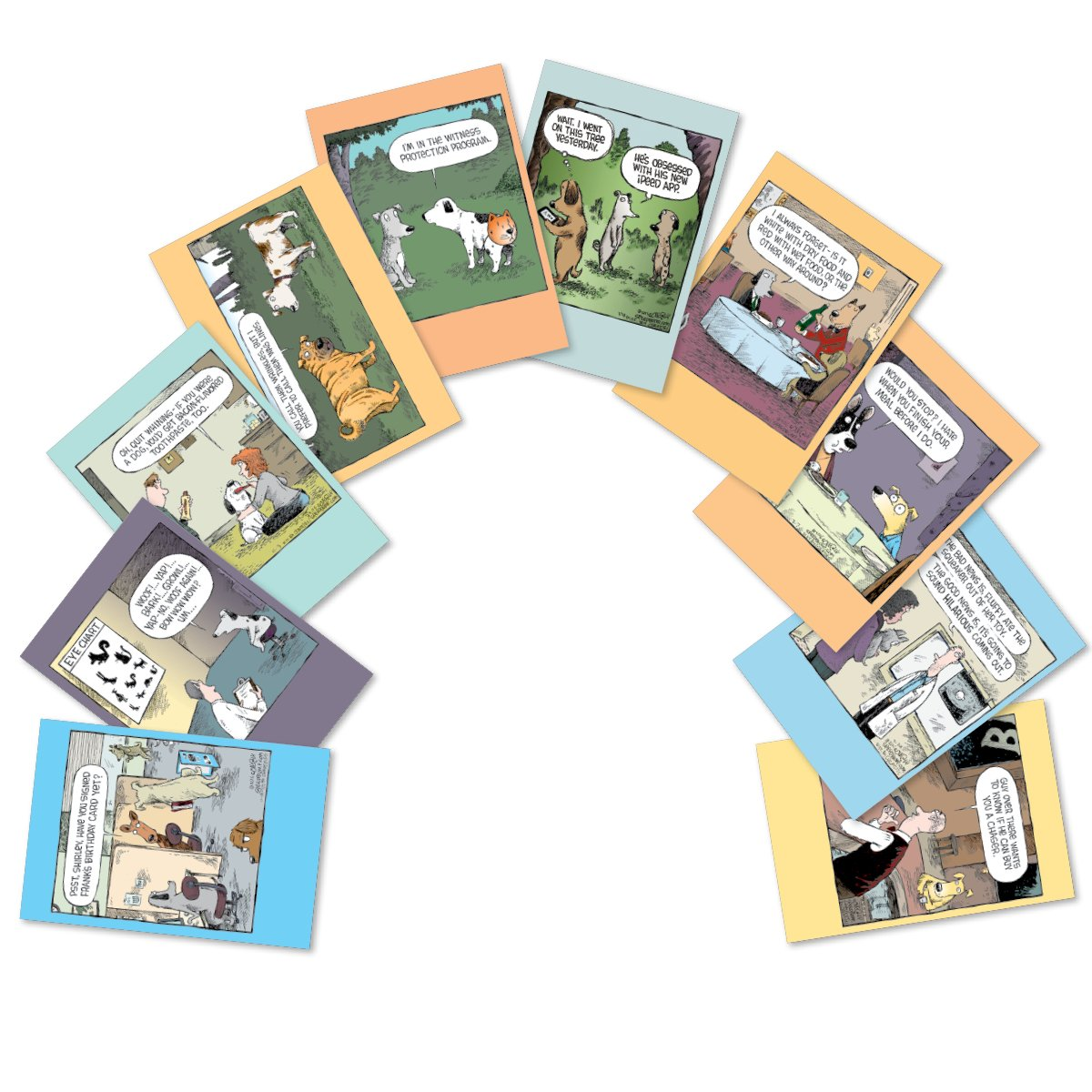 "10 'Dog Days Birthday Assortment' Note Cards (with Envelopes) - Assorted & Boxed Greeting Cards - Funny Cartoon Bday Cards for Friends, Family, All Ages - Stationery Notecards (4"" x 5 ¼"") #A2665BDG by NobleWorks (Image #1)"