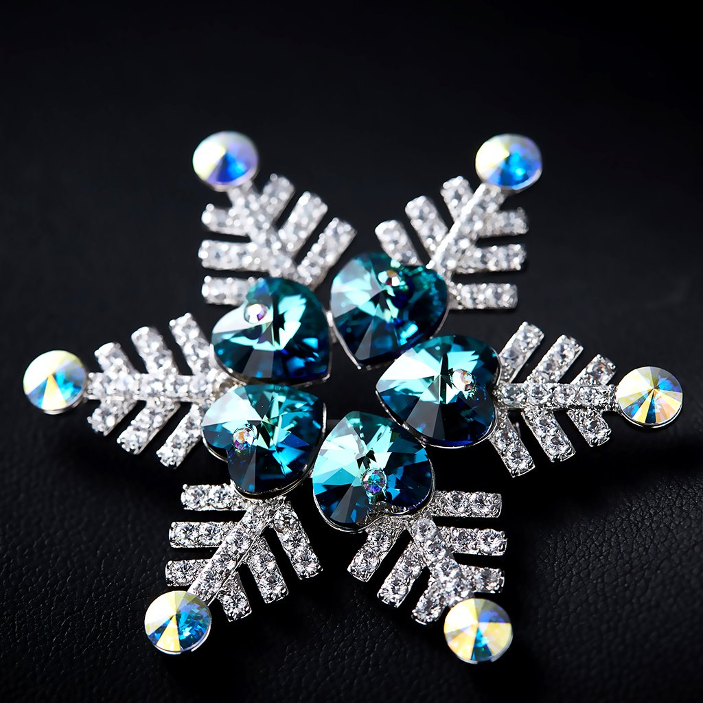 IUHA Christmas Snowflake Sparkling Brooch Made with Swarovski Crystals Party Holiday for Women Girls Gift by IUHA (Image #3)