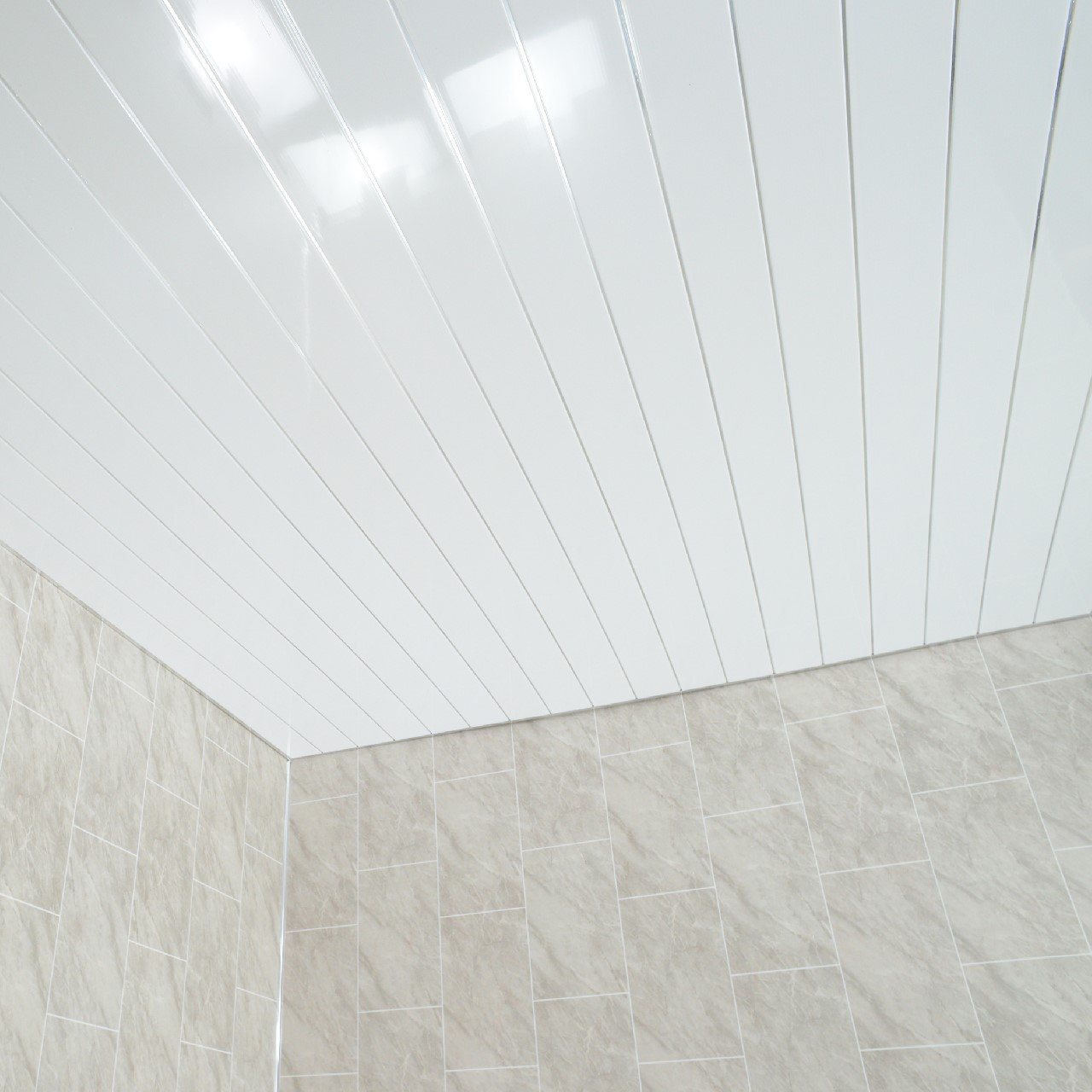 Claddtech White ceiling panels splashbacks - bathroom wall cladding ...