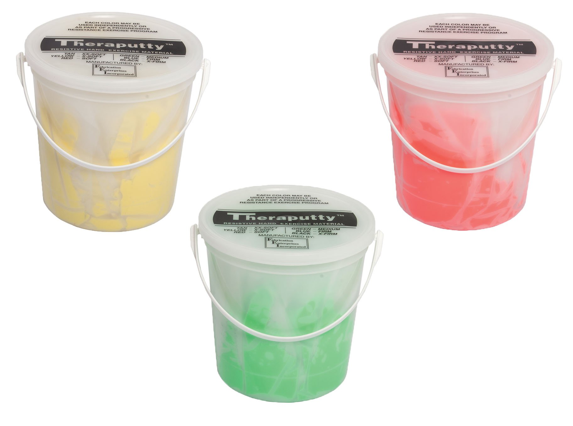 TheraPutty Antimicrobial Exercise Putty Yellow - X-soft, Red - Soft, Green - Medium 5 LB Each - Bundle